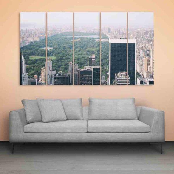 Multiple Frames Beautiful City Skyline Wall Painting (150cm X 76cm)