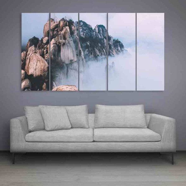 Multiple Frames Beautiful Himalayas Wall Painting (150cm X 76cm)