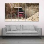 Multiple Frames Beautiful Jeep Wall Painting (150cm X 76cm)