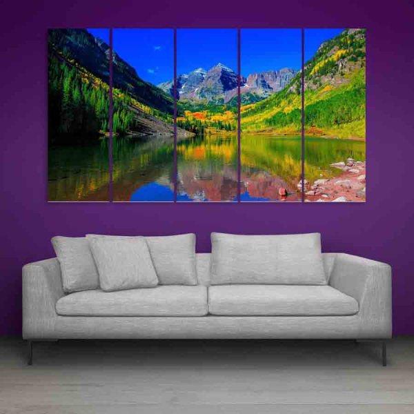 Multiple Frames Beautiful Nature And Hills Wall Painting (150cm X 76cm)