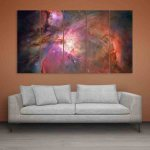 Multiple Frames Beautiful Space Universe Wall Painting (150cm X 76cm)