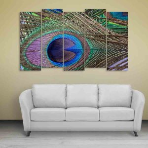 Multiple Frames Beautiful Peacock Feather Wall Painting for Living Room, Bedroom, Office, Hotels, Drawing Room (150cm X 76cm)