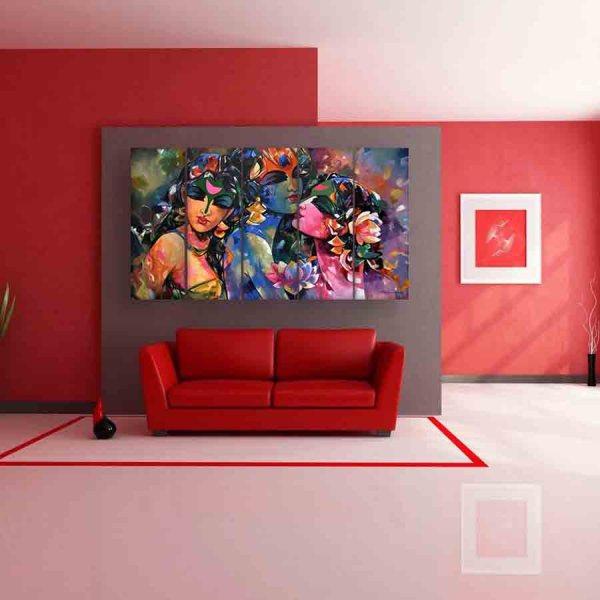 Multiple Frames Radha Krishna Beautiful Wall Painting (150cm X 76cm)