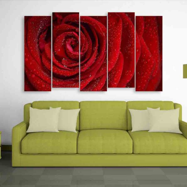 Multiple Frames Beautiful Red Rose Wall Painting (150cm X 76cm)