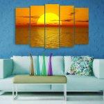 Multiple Frames Beautiful Sunrise Wall Painting (150cm X 76cm)