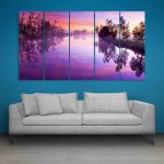 Multiple Frames Beautiful River Wall Painting (150cm X 76cm)