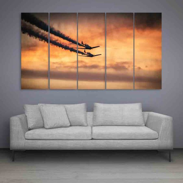 Multiple Frames Planes In Sky Wall Painting (150cm X 76cm)