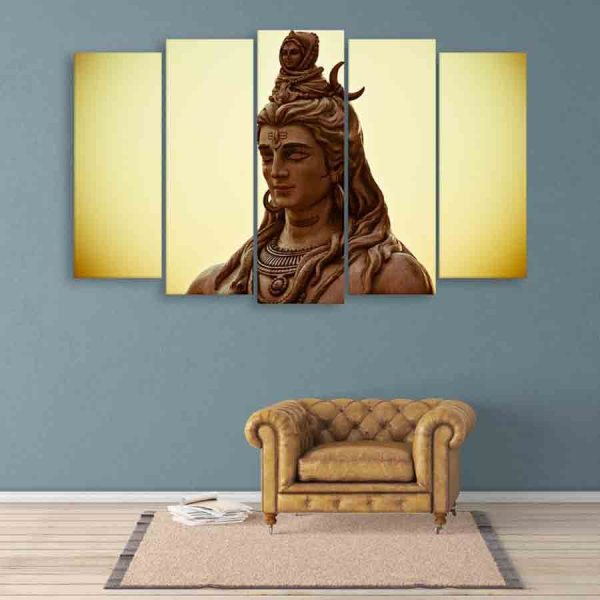 Multiple Frames Lord Shiva Wall Painting (150cm X 76cm)