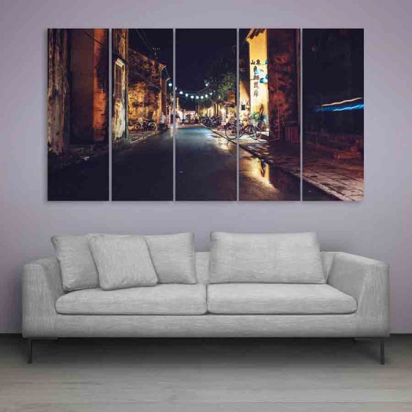 Multiple Frames Beautiful Street Lights Wall Painting (150cm X 76cm)