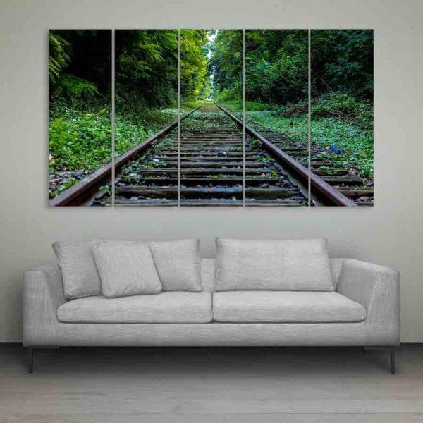 Multiple Frames Train Track Wall Painting (150cm X 76cm)