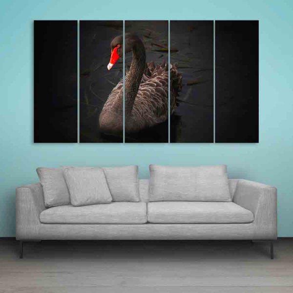 Multiple Frames Black Swan Wall Painting (150cm X 76cm)