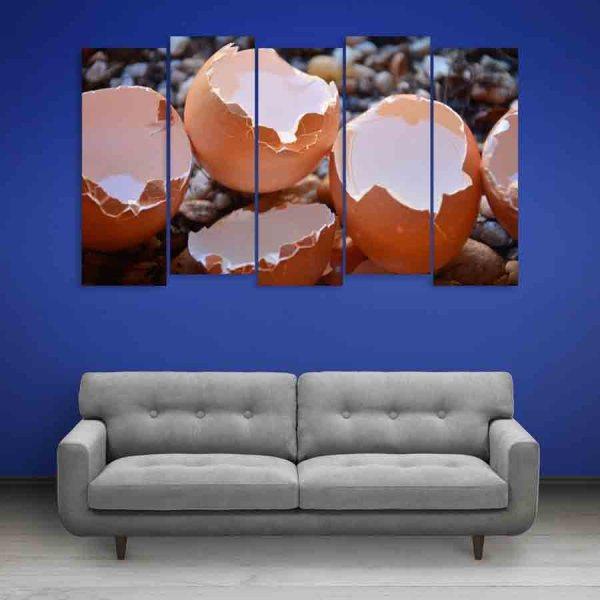 Multiple Frames Broken Eggs Wall Painting (150cm X 76cm)