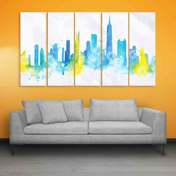 Multiple Frames Chicago Skyline Wall Painting (150cm X 76cm)