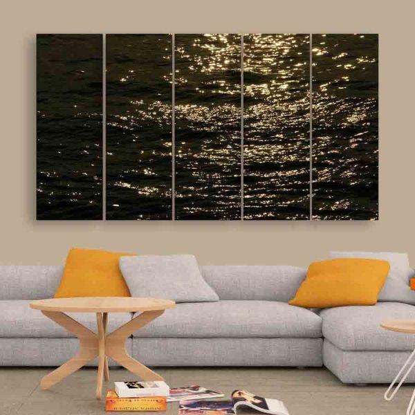 Multiple Frames Sea Waves Wall Painting (150cm X 76cm)