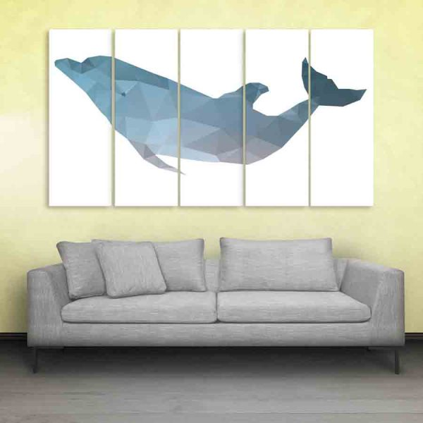 Multiple Frames Fish Polygon Wall Painting (150cm X 76cm)