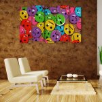 Multiple Frames Smileys Wall Painting (150cm X 76cm)