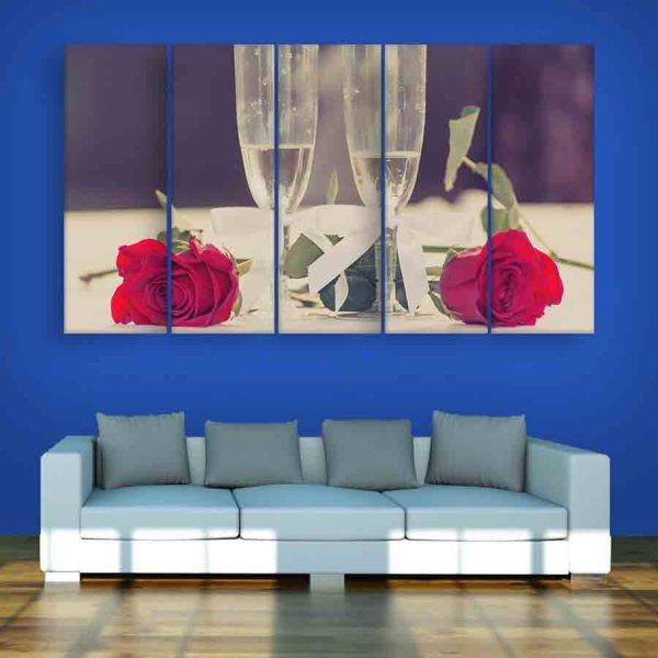 Multiple Frames Rose Wall Painting (150cm X 76cm)