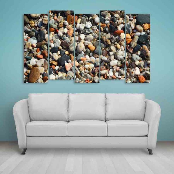 Multiple Frames Peaceful Pebbles Wall Painting (150cm X 76cm)