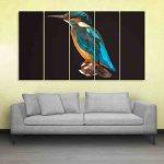 Multiple Frames Kingfisher Bird Polygon Wall Painting (150cm X 76cm)