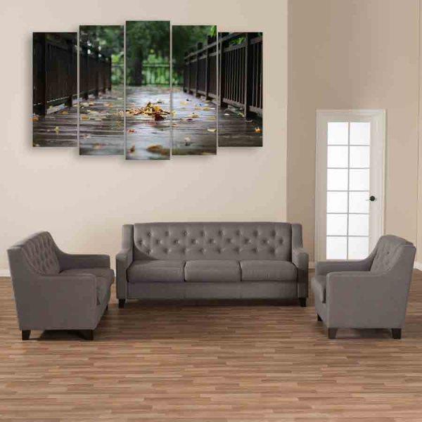 Multiple Frames Rain Wood Wall Painting (150cm X 76cm)