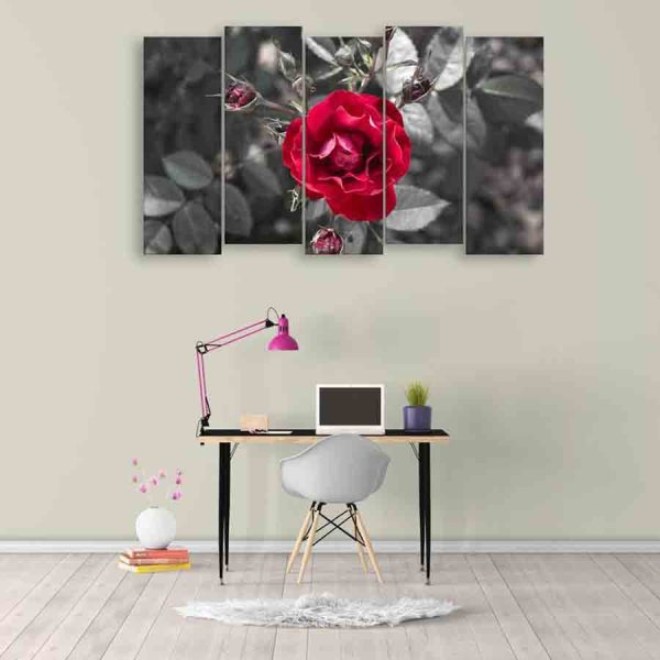 Multiple Frames Beautiful Rose Wall Painting (150cm X 76cm)