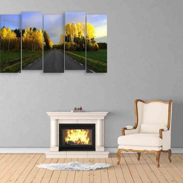 Multiple Frames Straight Road Wall Painting (150cm X 76cm)