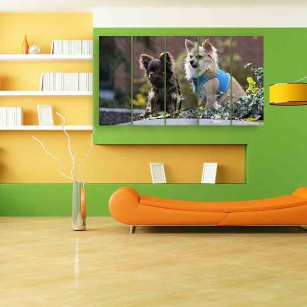 Multiple Frames Beautiful Dogs Wall Painting (150cm X 76cm)