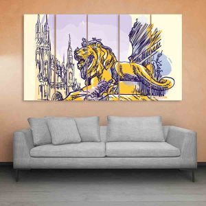 Multiple Frames Milan Italy Art Wall Painting for Living Room, Bedroom, Office, Hotels, Drawing Room (150cm X 76cm)