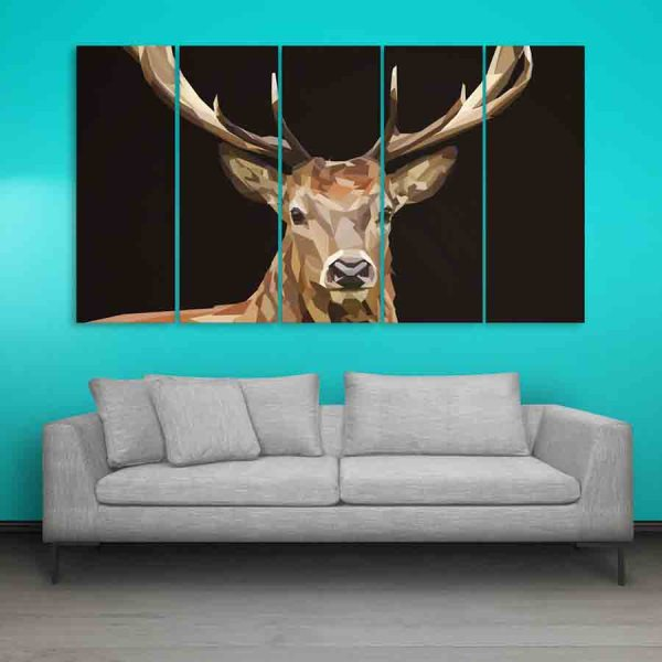 Multiple Frames Swamp Deer Wall Painting (150cm X 76cm)