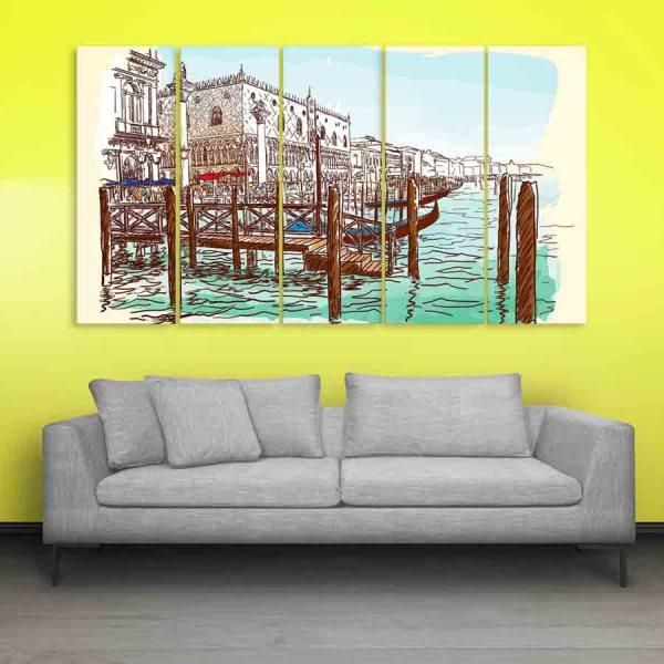 Multiple Frames Venice Italy Art Wall Painting (150cm X 76cm)