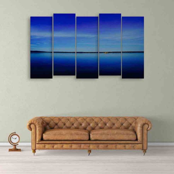 Multiple Frames Beautiful Blue Canal Wall Painting (150cm X 76cm)