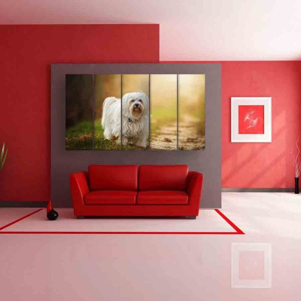 Multiple Frames Beautiful Dog Wall Painting (150cm X 76cm)