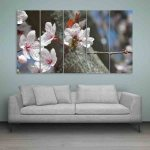 Multiple Frames Bee And Leaves Wall Painting (150cm X 76cm)