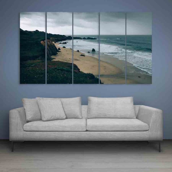 Multiple Frames Clouds And Ocean Wall Painting (150cm X 76cm)