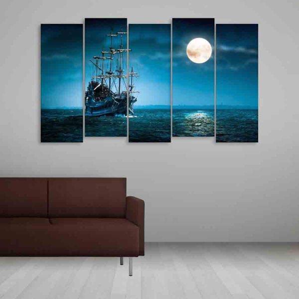 Multiple Frames Beautiful Ship In ocean Wall Painting (150cm X 76cm)