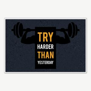 Try Harder Fitness Poster Art | Gym Motivation Posters