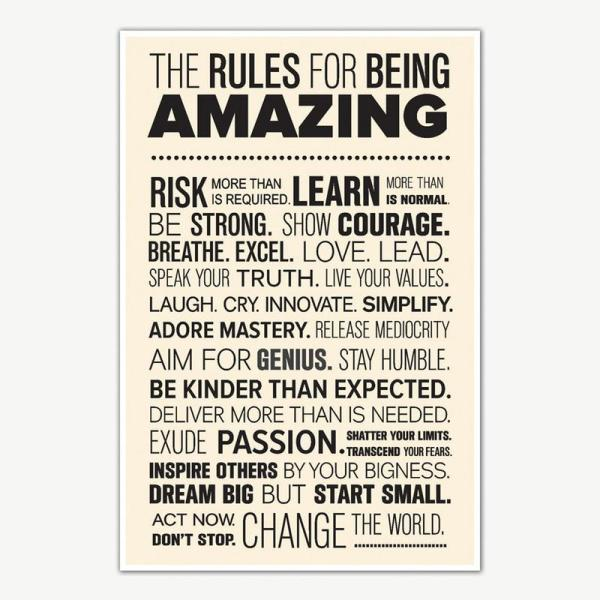 The Rules For Being Amazing Quotes Poster   Motivational Posters For Offices