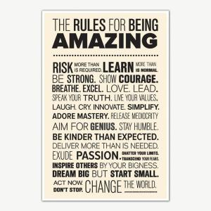The Rules For Being Amazing Quotes Poster | Motivational Posters For Offices