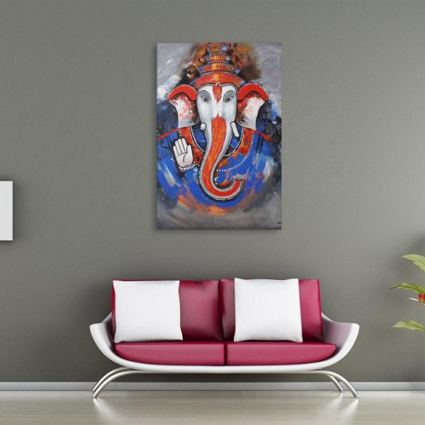 Canvas Painting - Modern Lord Ganesha Art Religious Wall Painting for Living Room