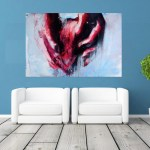 Canvas Painting - Modern Abstract Art -  Heart Wall Painting for Living Room