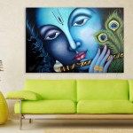 Canvas Painting - Beautiful Lord Krishna Religious Art Wall Painting for Living Room