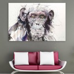 Canvas Painting - Beautiful Monkey Wildlife Art Wall Painting for Living Room