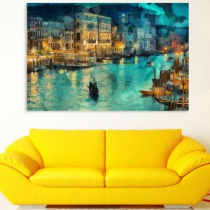 Canvas Painting - Beautiful Night Venice Art Wall Painting for Living Room