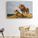 Canvas Painting - Beautiful Lions Wildlife Art Wall Painting for Living Room