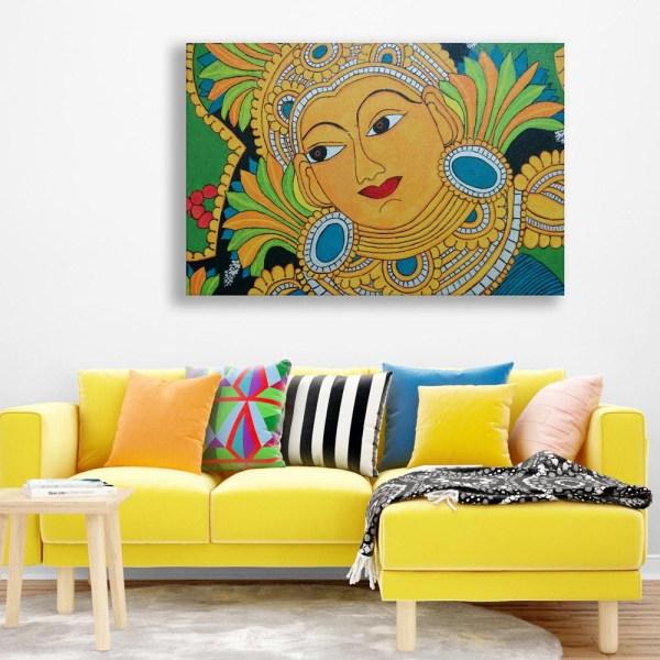 Canvas Painting - Beautiful Kerala Mural Art Wall Painting for Living Room