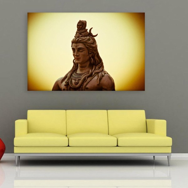 Canvas Painting - Beautiful Lord Shiva Religious Art Wall Painting for Living Room