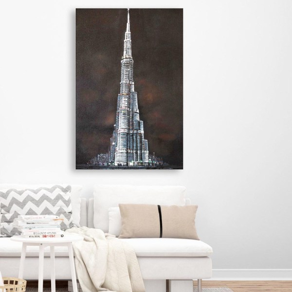 Canvas Painting - Beautiful Burj Khalifa Architectural Art Wall Painting for Living Room