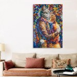 Canvas Painting - Beautiful Cat Hug Art Wall Painting for Living Room