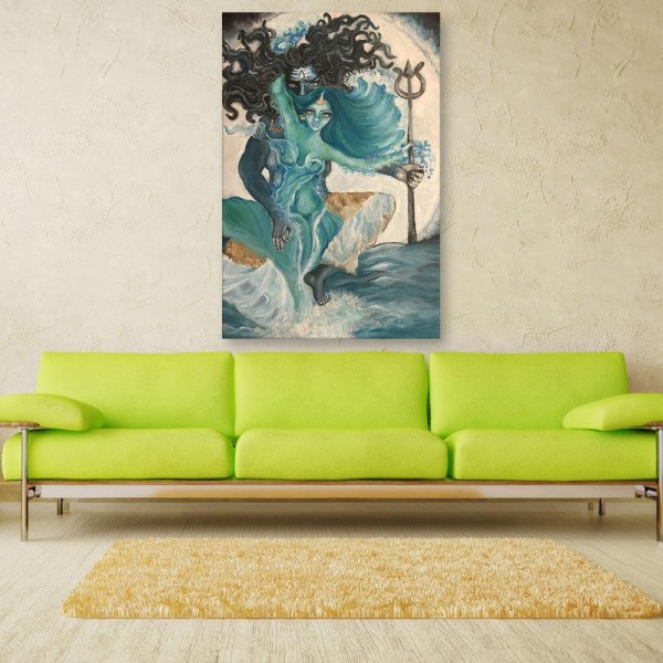 Canvas Painting - Beautiful Shiv Parvati Art Wall Painting for Living Room