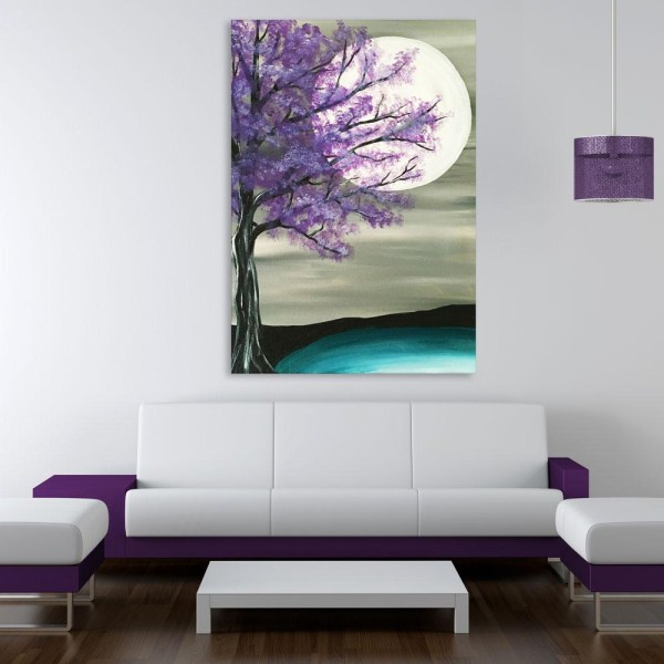 Canvas Painting - Beautiful Tree At Night Art Wall Painting for Living Room